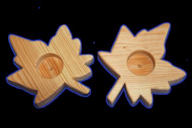 Teelichthalter Holz - Ahornblatt