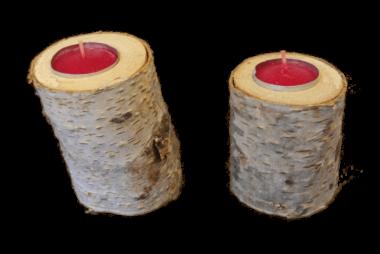 Teelichthalter 2-Teilig Birkenholz