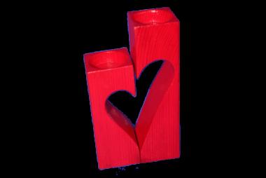 Teelichthalter Herz 2-teilig Holzdeko