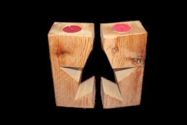 Teelichthalter Stern 2-teilig Holz - mit Borke