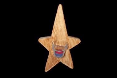 Teelichthalter Stern - Holz